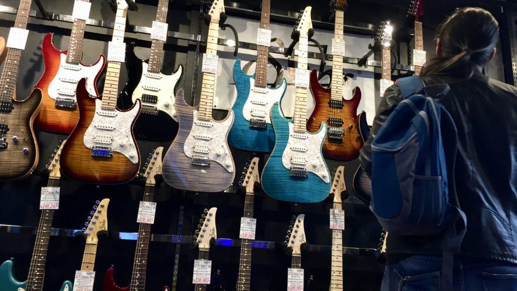 Ed in a Guitar Shop in Shinjuku, Tokyo. March 2017