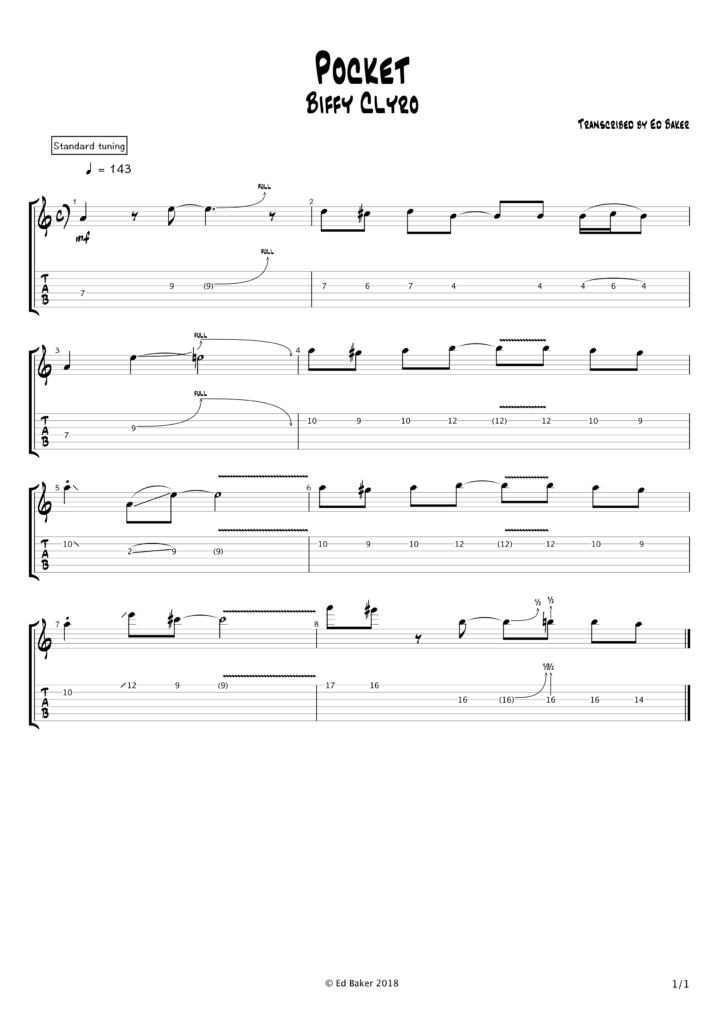 Biffy Clyro - Pocket guitar solo tab