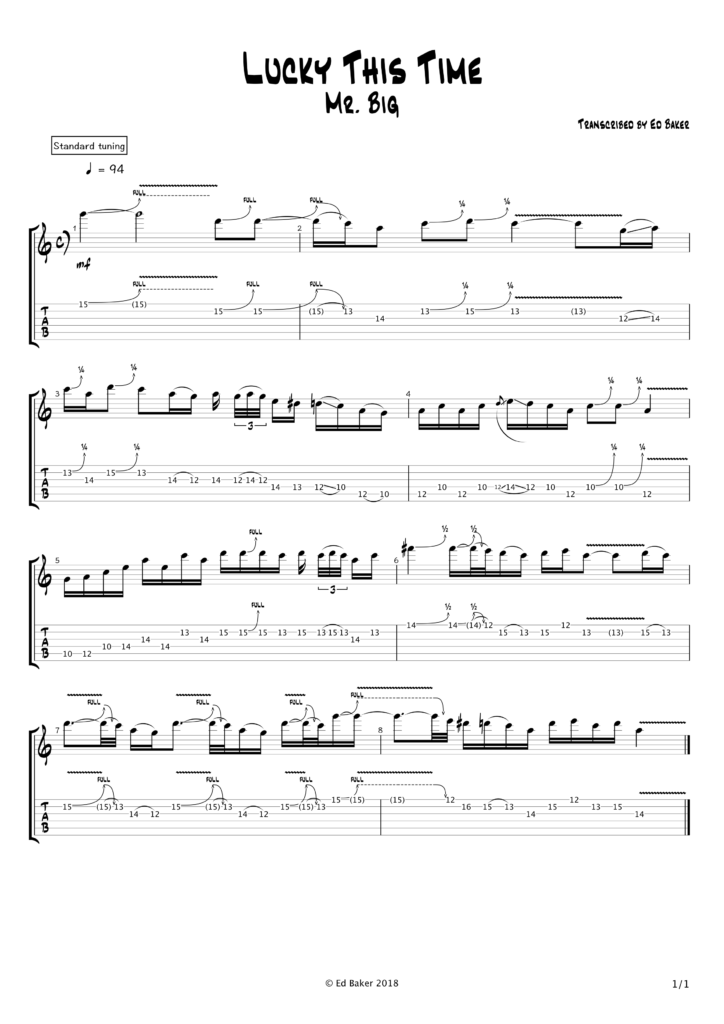 Mr Big - Lucky This Time guitar solo tab