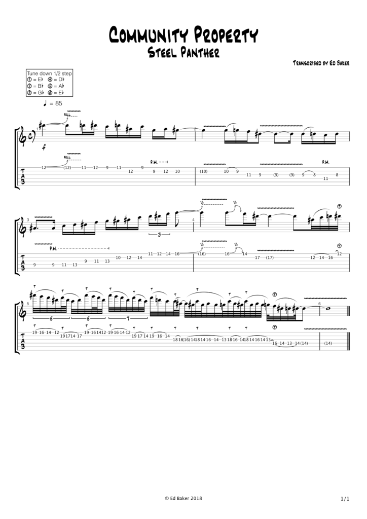 Steel Panther - Community Property Guitar Solo Tab