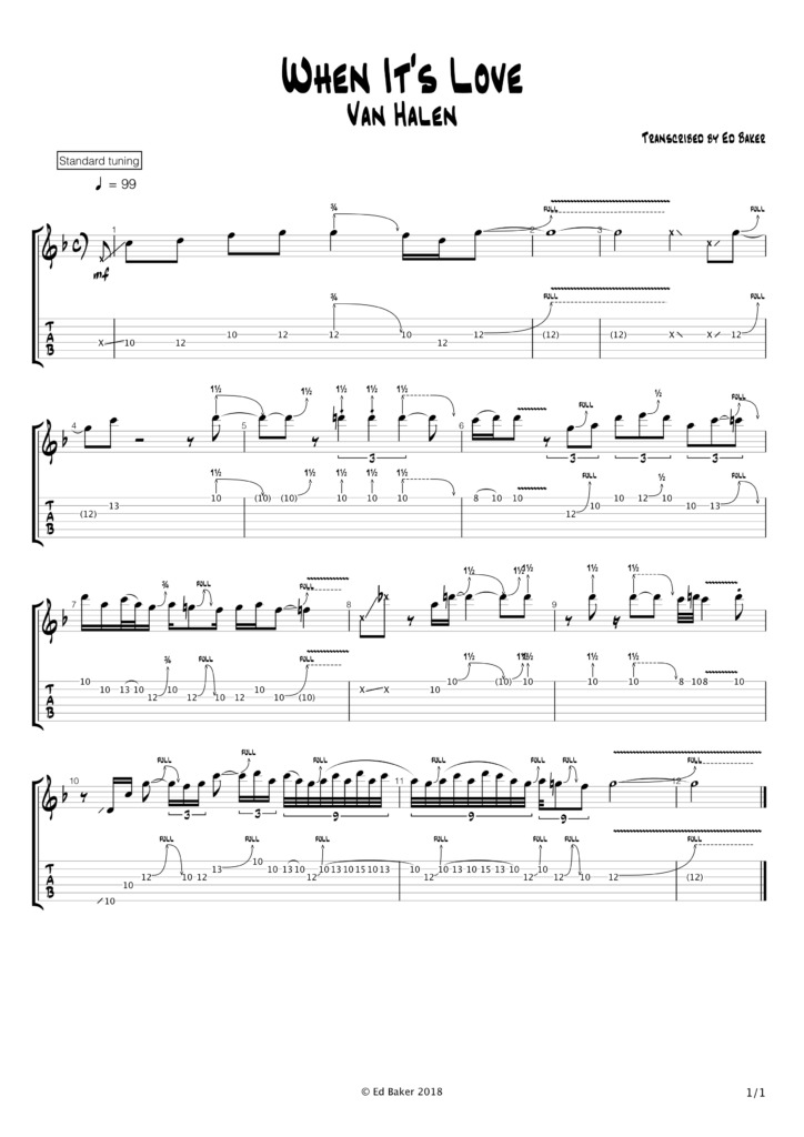 Eddie Van Halen - When It's Love guitar solo tab